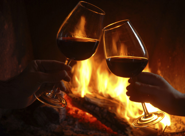 wine by the camp fire