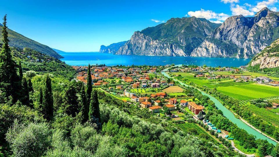 View of a lake in Italian mountain region