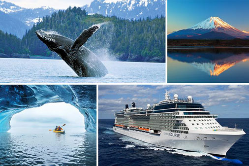 Alaska cruise shop and whale coming out of the ocean