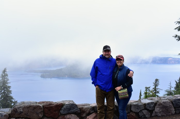 viewing crater lake with fog