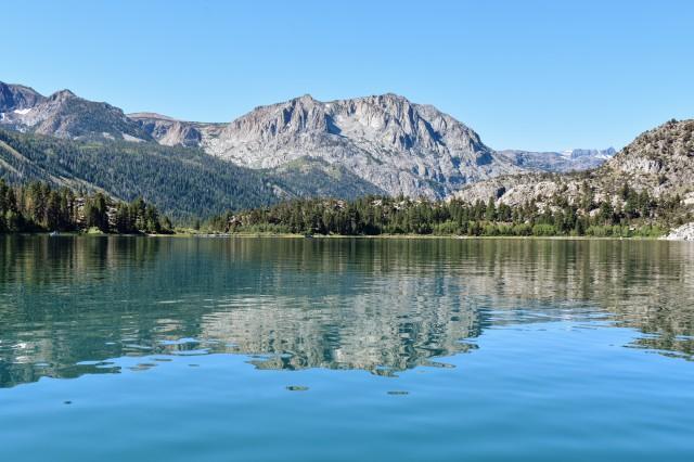 mountains reflected on lake