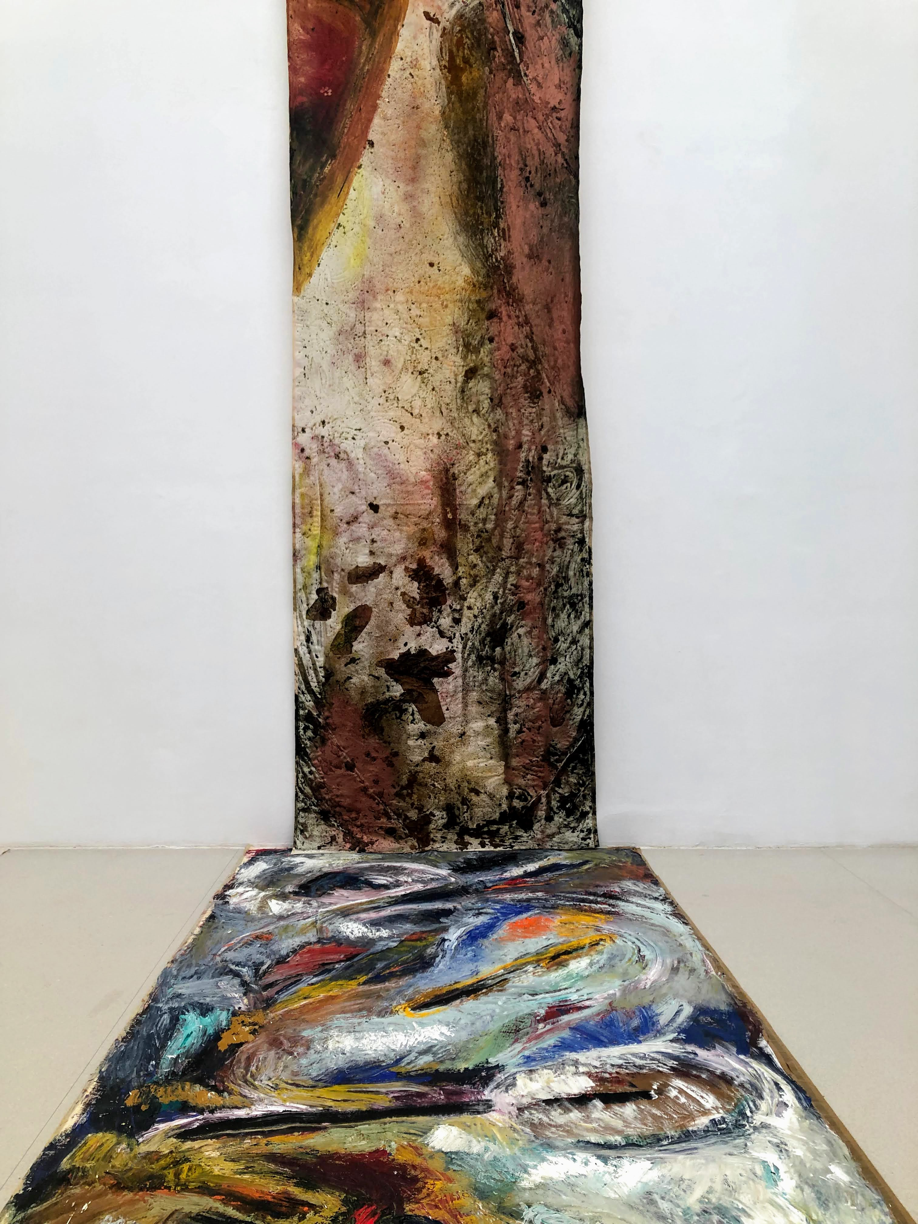 modern art on wall and floor
