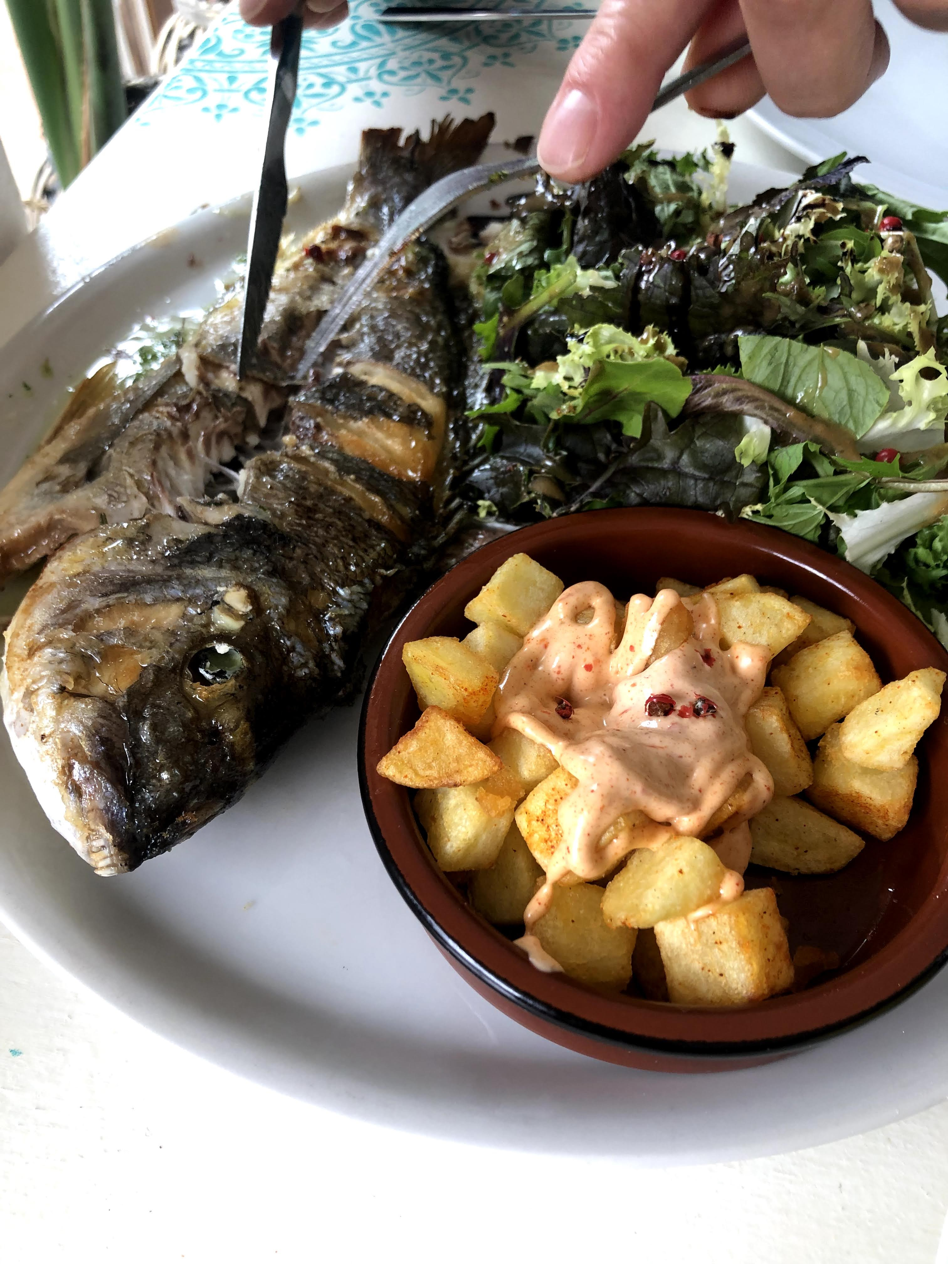 grilled fish with potatoes and salad